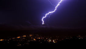 Lightning over the city. In the Czech Republic Royalty Free Stock Photos