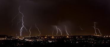 Lightning over city Stock Photo
