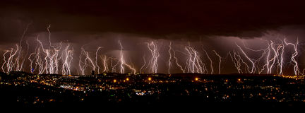 Lightning over city Stock Image