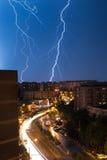 Lightning over city Royalty Free Stock Photos