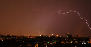 Lightning over the city Stock Images