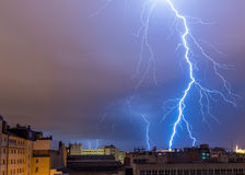 Lightning over the city. At night in Budapest, Hungary Stock Image