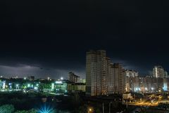 Lightning over the city at night royalty free stock photos