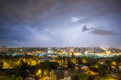 Lightning over the city. In Rostov on Don royalty free stock photos