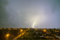 This lightning over the city. During the storm Stock Image