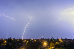 This lightning over the city. During the storm Stock Photo
