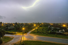 This lightning over the city. During the storm Royalty Free Stock Images