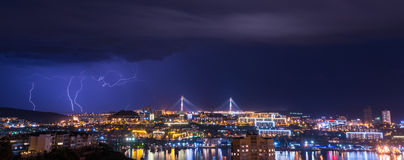 Lightning over city. Royalty Free Stock Photos