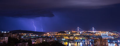 Lightning over city. Stock Photography
