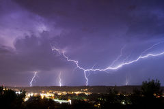 Lightning over city Royalty Free Stock Photos