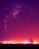 Lightning over the Container Port Royalty Free Stock Images