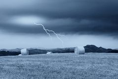 Lightning over the countryside Stock Photography