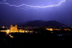 Lightning over Cuzco's main square at night. Lightning over Cuzco's main square plaza de armas at night royalty free stock images