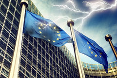 Lightning over European Union flags Stock Photography