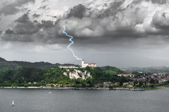 Lightning over the Fortress of Angera, Varese Royalty Free Stock Photo