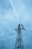 Lightning over high voltage pylon Royalty Free Stock Photography