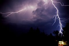 Lightning over house Royalty Free Stock Photos
