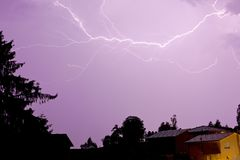 Lightning over Houses Royalty Free Stock Images