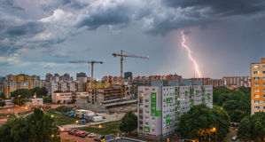 Lightning Over Housing Estate. Storm in the City. Royalty Free Stock Images