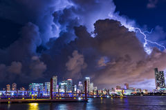 Lightning over Miami. Lightning unleashed over the Miami skyline royalty free stock photography
