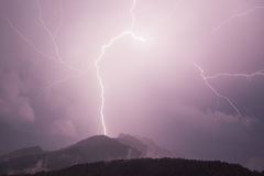 Lightning over the mountains Royalty Free Stock Images