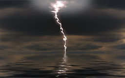 Lightning over a night sea Stock Photo