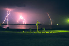 Lightning Over The Ocean Stock Photos
