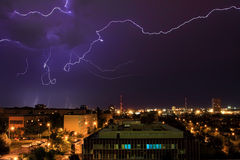 Lightning over Prague. Stock Photography