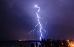 Lightning over the river Royalty Free Stock Photography