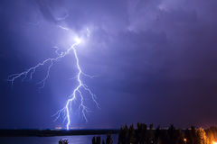 Lightning over the river 2. Lightning over the river Volga. Volgograd. Russia Royalty Free Stock Photography