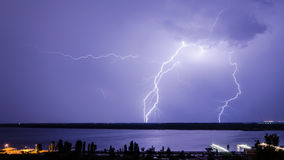 Lightning over the river 4. Lightning over the river Volga. Volgograd. Russia Royalty Free Stock Images
