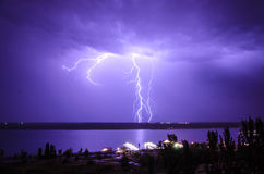Lightning over the river. Volga. Volgograd. Russia Stock Photo