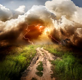 Lightning over the road Royalty Free Stock Images