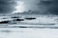 Lightning over the sea Stock Photos