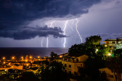 Lightning over the sea Royalty Free Stock Photo
