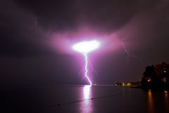 Lightning over sea Stock Photography