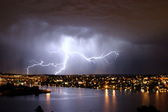 Lightning over seattle Stock Image