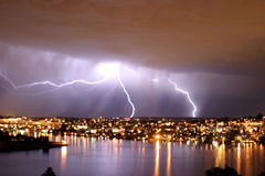 Lightning over seattle Stock Photography
