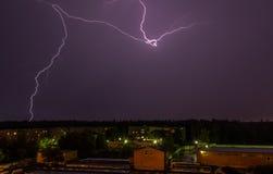 Lightning over the sky stock photos