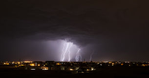 Lightning over small town Royalty Free Stock Photography
