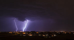 Lightning over small town Royalty Free Stock Image