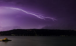 Lightning over Souda Bay. Flashes of lightning light up the sky over Akrotiri, during a ferocious early winter thunderstorm over Souda Bay, Chania, Crete, Greece stock photography