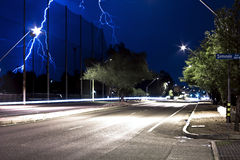 Lightning over Speedway Blvd in Tucson Arizona at Night Time Stock Image