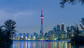 Lightning over Toronto Downtown Skyline royalty free stock photography