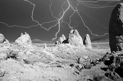 Lightning Over Trona Pinnacles Royalty Free Stock Photography
