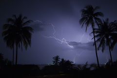 Lightning over tropical beach Royalty Free Stock Photography