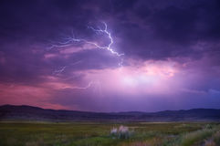 Lightning. Positive and negative ions attracting to create lightning royalty free stock photography
