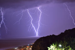 Lightning 3 in praia a mare Royalty Free Stock Photos