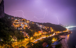 Lightning in Purple Skies over Rio. Lightning strikes in the distance in purple skies over golden lit Rio de Janeiro above Ipanema Beach Royalty Free Stock Image