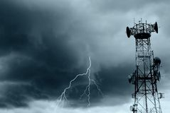 Lightning and radio waves Royalty Free Stock Photography